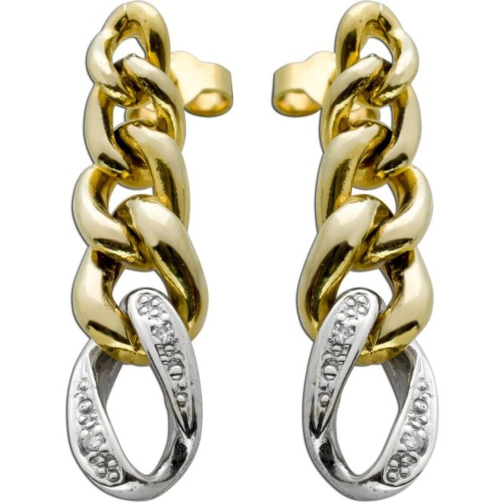 Ketten Ohrstecker Gelb Weiß Gold 8 Karat 4 Diamanten Total 0,04ct W/J1 Cuban Link Design Iced out