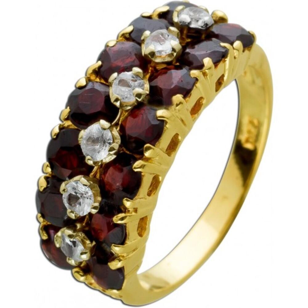 Antiker Diamant Granat Edelsteinring Gelbgold 750 18 Karat 14 bömische Granat Edelsteine 6 Diamanten 0,18ct