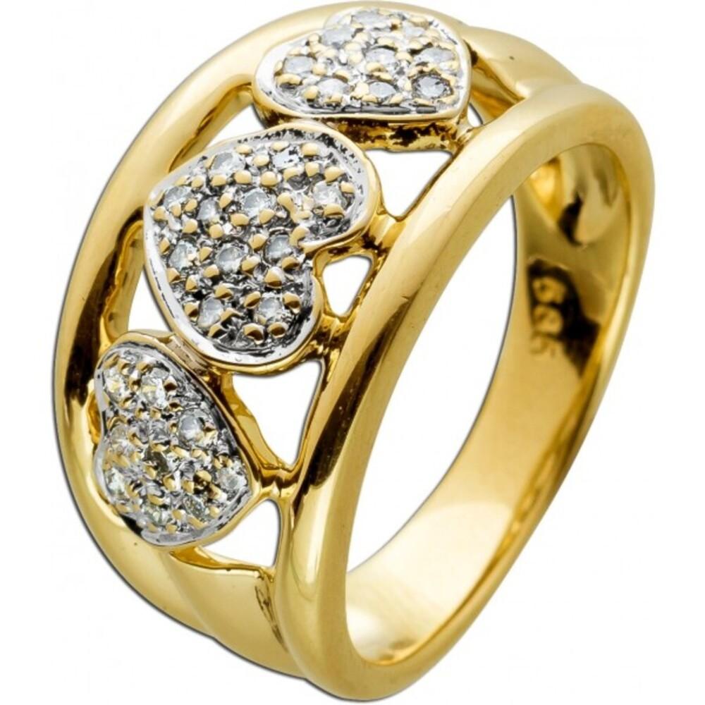Herz Gelbgold 585 14 Karat  29 Diamanten Brillianten 0,29ct  W/J1 Diamantring Goldring Damenring 17,3mm