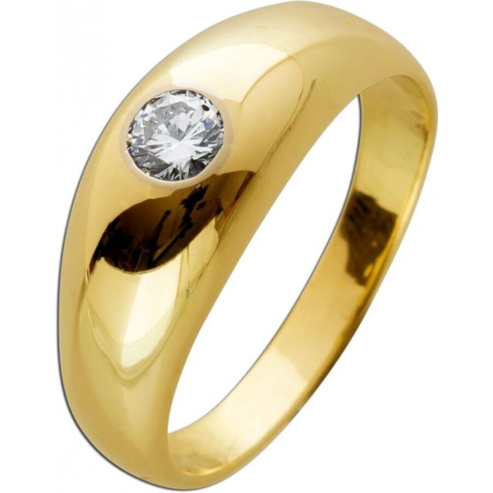 Diamantring Gelbgold 585 14 Karat 1 Diamant im Brillantschliff 0,35-0,38ct TW/VVSI Damenring Herrenring Solitärring 20mm mit Görg Zertifikat