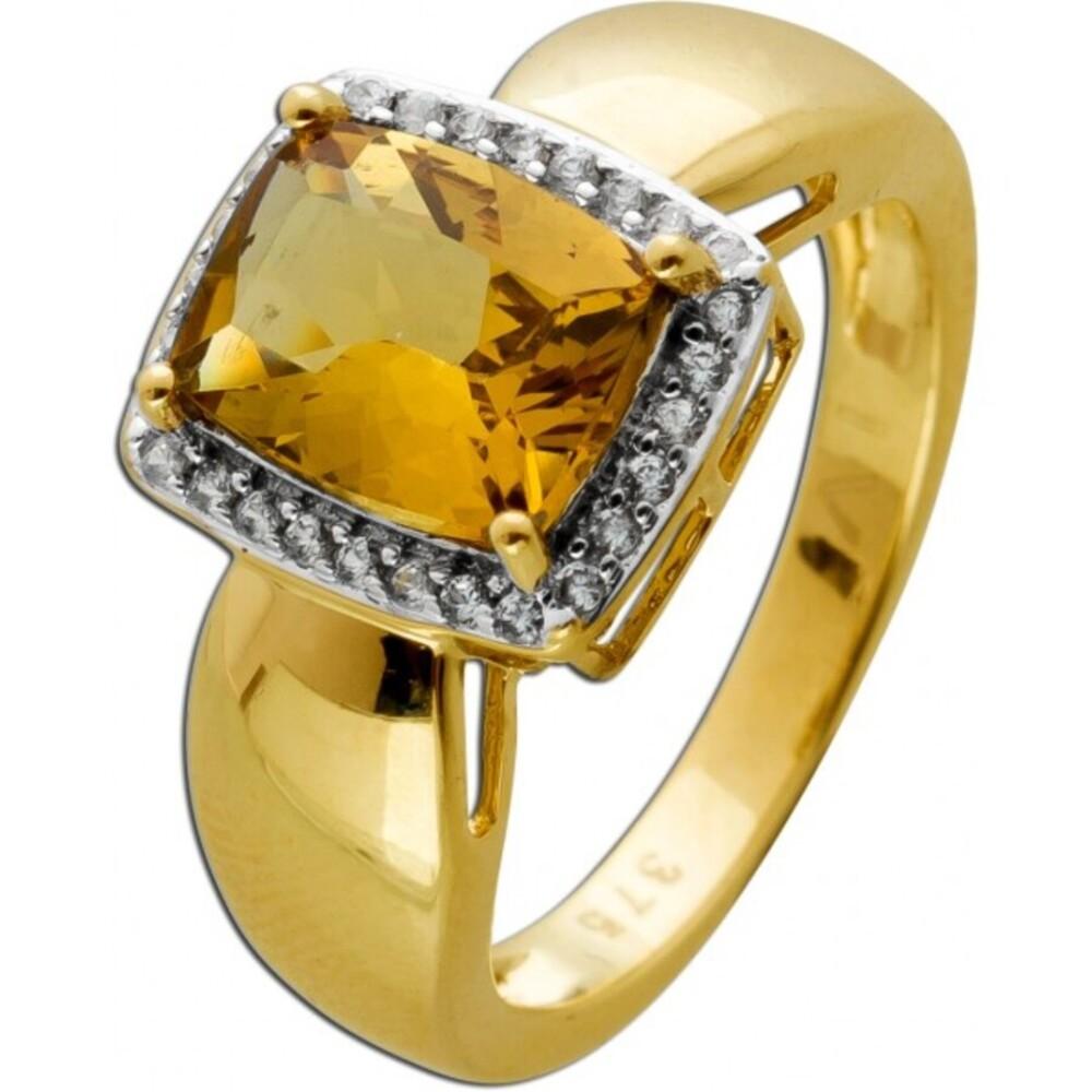 Brillant Citrin Edelsteinring Gelbgold 375 9 Karat 1Citrin Edelstein 28 Diamanten im Brillantschliff W/SI 0,28ct 17mm