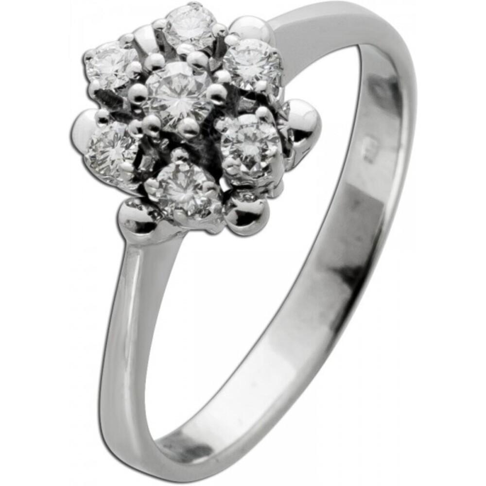 Antiker Designer Diamantring Weissgold 585 14 Karat 7 Brillianten 0,40ct TW/VVSI  um 1960 Vintage 17mm Görg Zertifikat