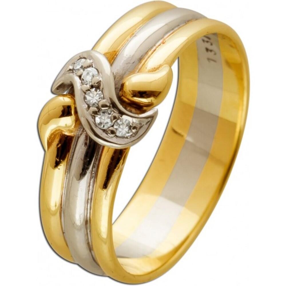 Antiker Brilliantring Gelb Weissgold 333 8 Karat 5 Diamanten im Brillantschliff 0,05ct TW/SI 17mm