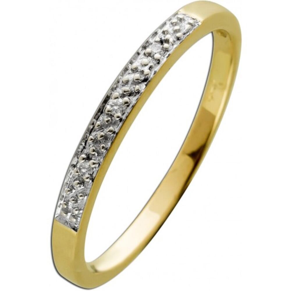 Diamantring Memoire Alliance Ring Gelbgold 333 8 Karat 3 Diamanten 0,03ct 8/8 W/J1 Vintage 1970 19mm