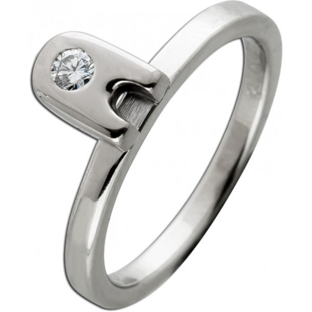 Solitär Diamant Ring Weissgold 585 14 Karat 1 Diamant im Brilliant Schliff 0,06ct 14,5mm