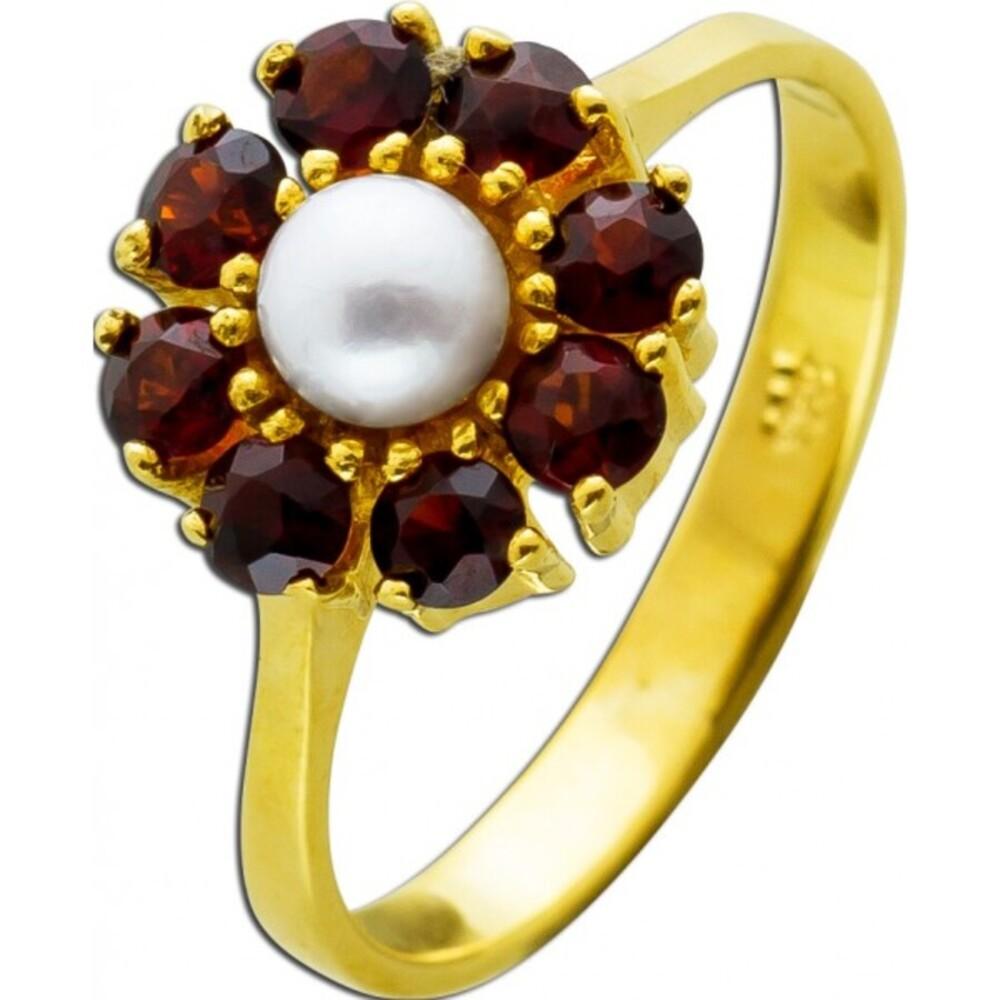 Antiker Ring Gelbgold 333 8 Karat 8 böhmische Granat Edelsteine 1 Akoya Perle AAA Qualität Creme Top Perlen Lustre 1950 16mm