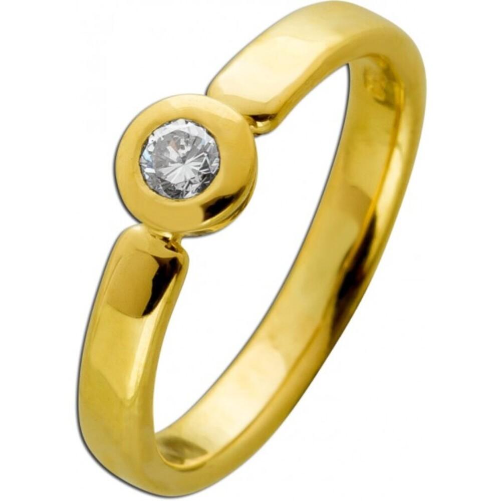 Solitär Diamant Brillant Ring Gelbgold 750 18 Karat 1Diamant Brillantschliff 0,12ct TW/VSI 16mm