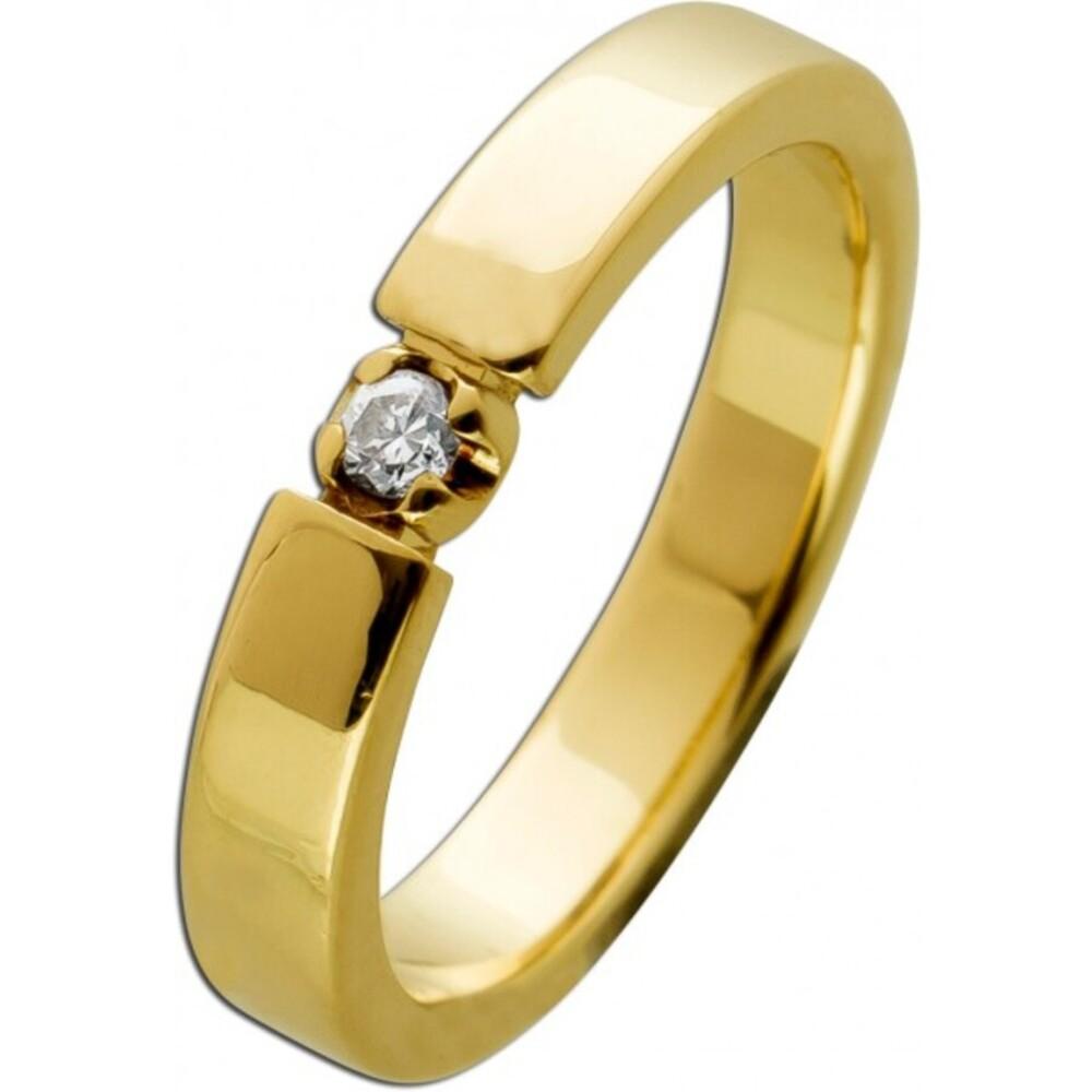 Solitär Diamant Ring 0,05ct TW/SI Brillant Gelbgold 585 14 Karat 1 Diamant Brillantschliff 16mm