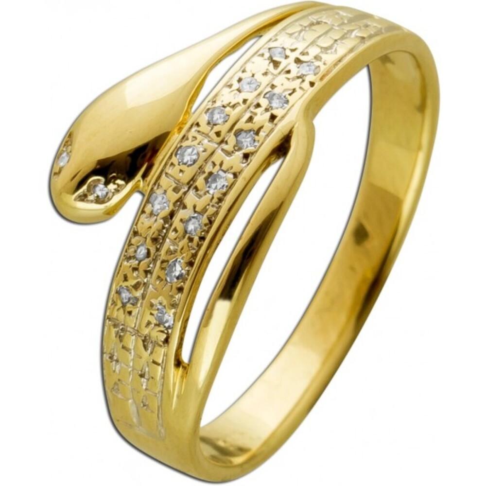 Antiker Schlangen Diamant Ring Gelbgold 585 14 Karat 16 Diamanten 8/8 W/SI 0,10ct 1980 17mm