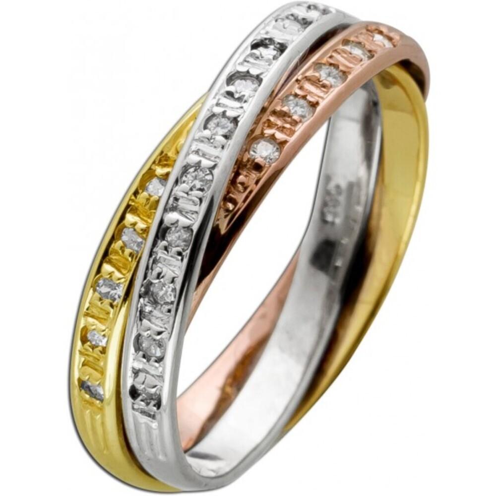 Trinity Ring Tricolor rose weiß gelb Gold 585 14 Karat 25 Diamanten Brillantschliff 0,13ct W/SI 16mm
