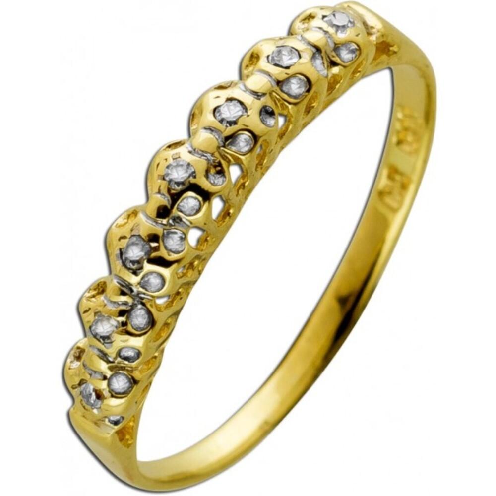 Diamantring Gelbgold 585 14 Karat 7 Diamanten jeweils 0,01ct W/J1Lapponia Look 16mm