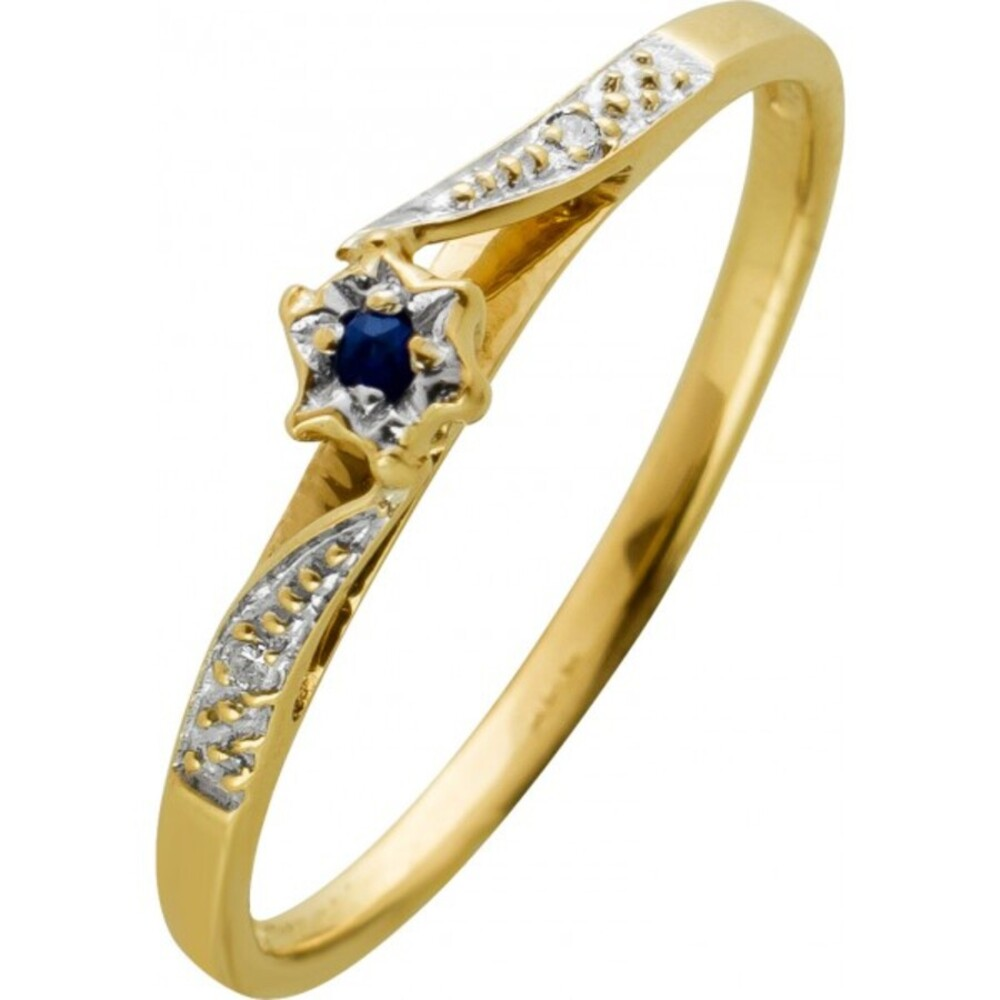 Ring Gelbgold Weißgold 333 8 Karat 2 Diamanten Brillant Schliff 0,02ct TW/SI 1 echter Saphir Edelstein 19mm