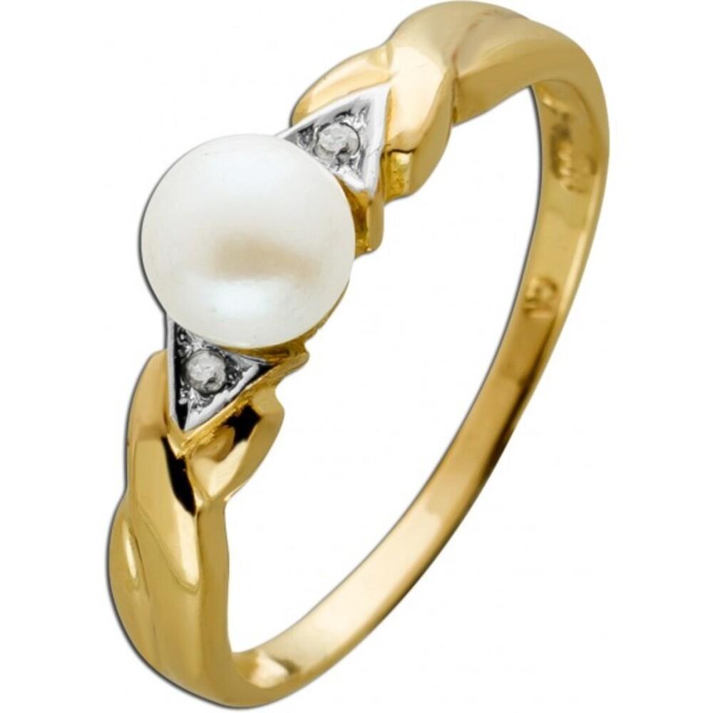 Antiker Ring Gelb Weißgold 333 8 Karat 2 Diamanten 8/8 Total 0,02ct W/J1 1 Japanische Akoya Perle 1980 18mm