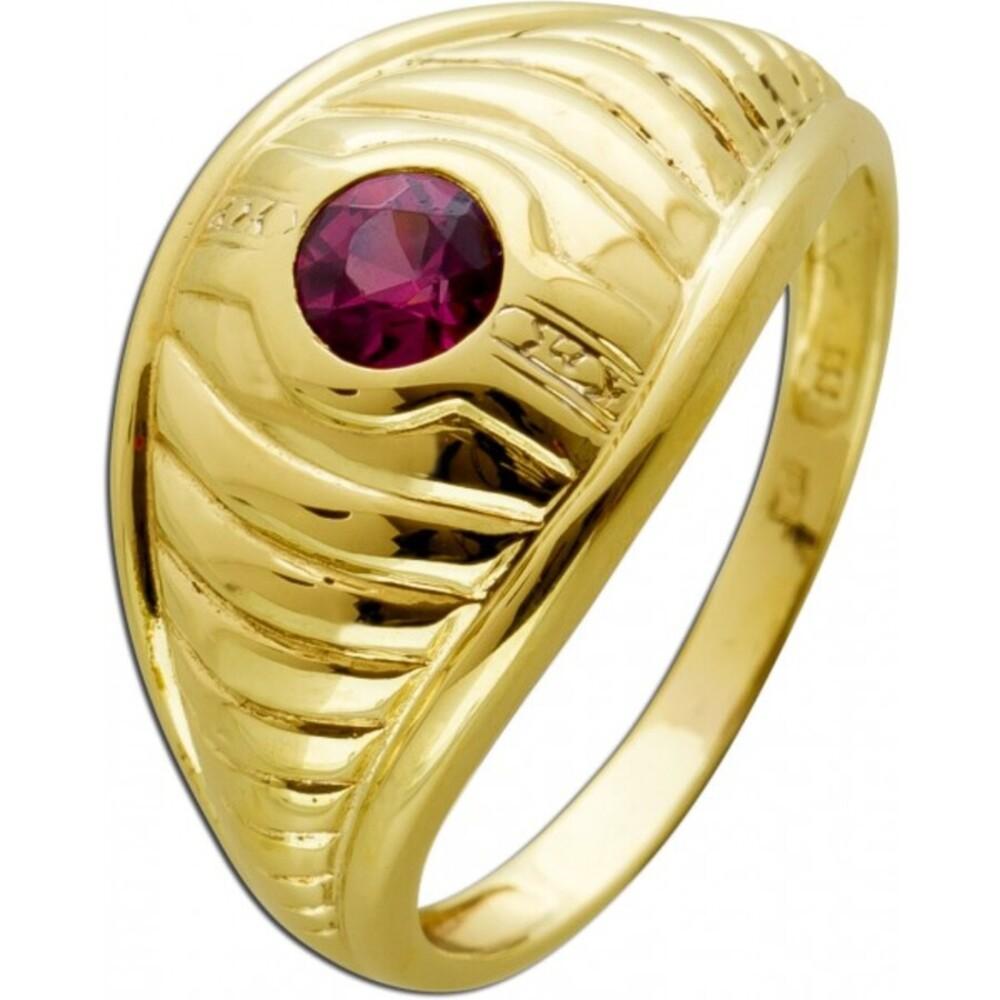 Antiker Solitär Ring Gelbgold 333 8 Karat 1pinke Rubelit Edelstein Synthese um 1980 gefertigt 17mm