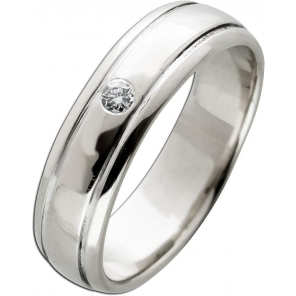 Solitär Ring Weißgold 585 14 Karat 1 Diamant  Brillant Schliff 0,04ct TW/VSI  Verlobungsring Trauring 16mm