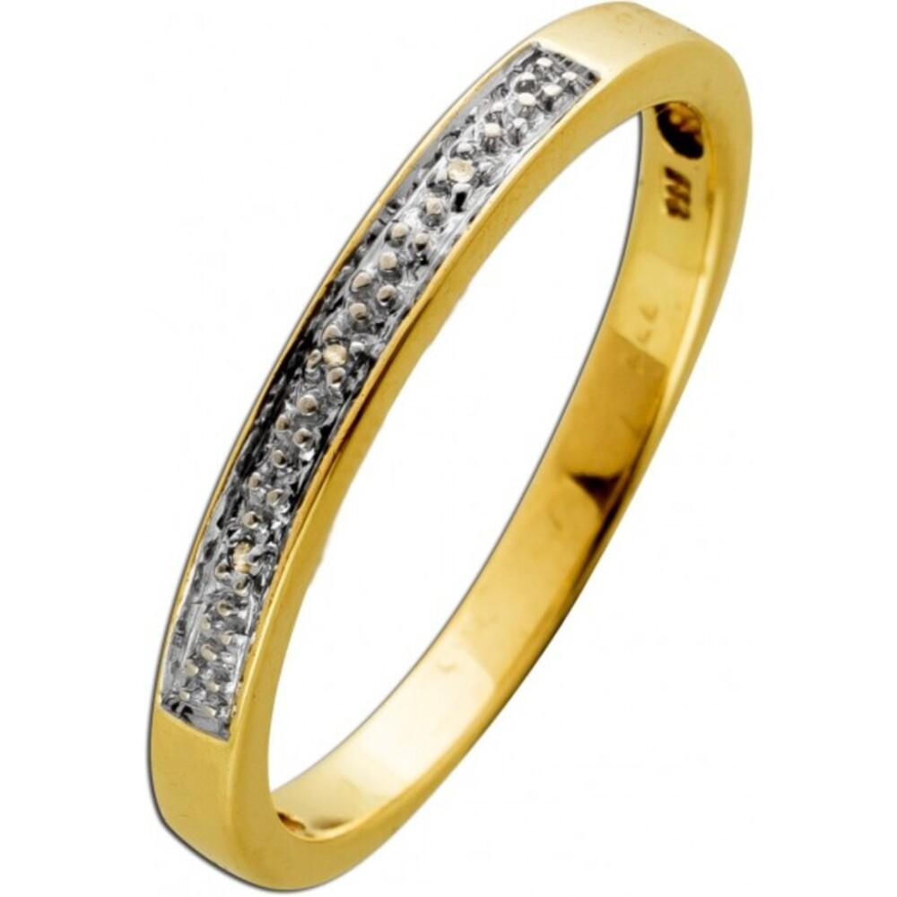 Ring Gelbgold 333 8 Karat  3 Diamanten Brillantschliff 0,014ct TW/SI Iced out 19mm