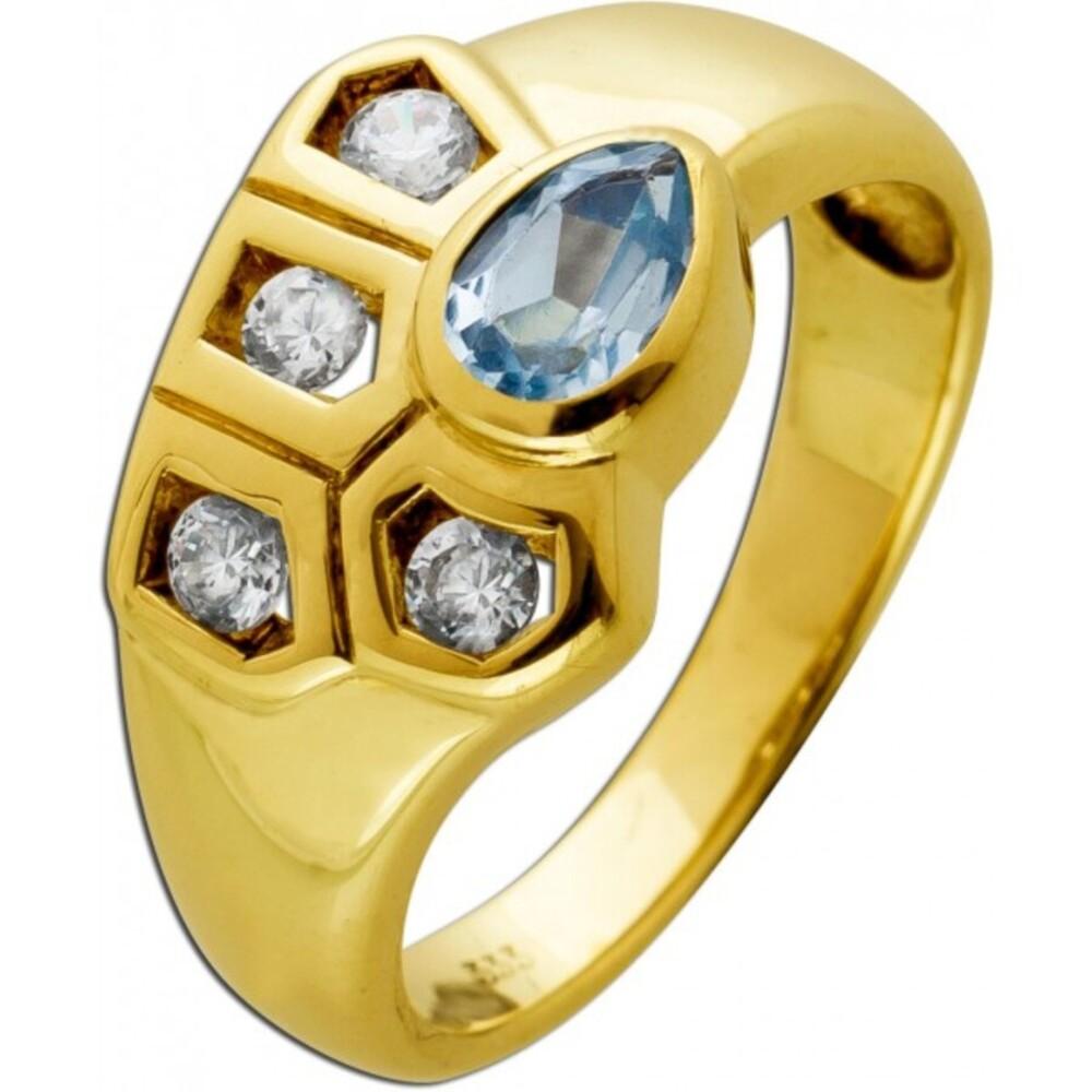 Antiker Ring Gelbgold 333 8 Karat mit Aquamarin Edelstein und Brillant Synthesen um 1980 gefertigt 16,5mm