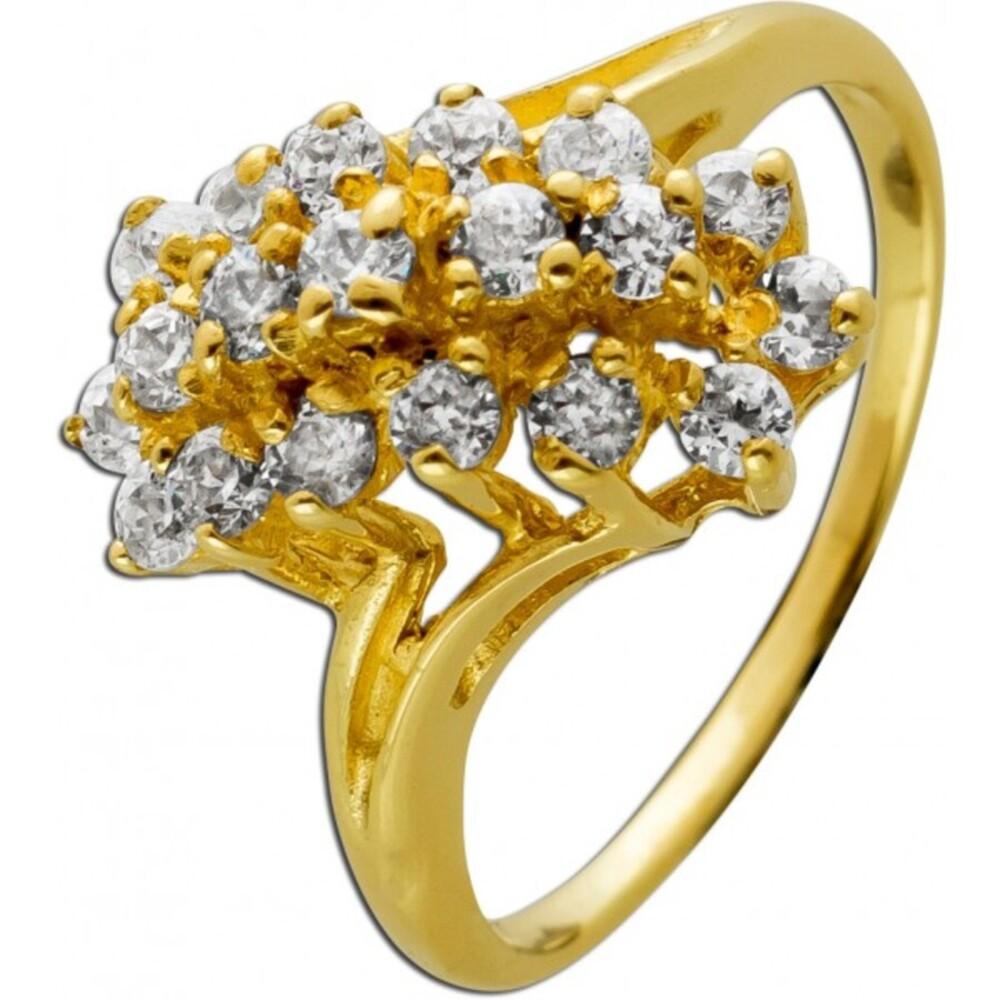 Designer Ring Gelbgold 585 14 Karat 19 Diamantsynthesen Brillant 0,50ct 16,5mm