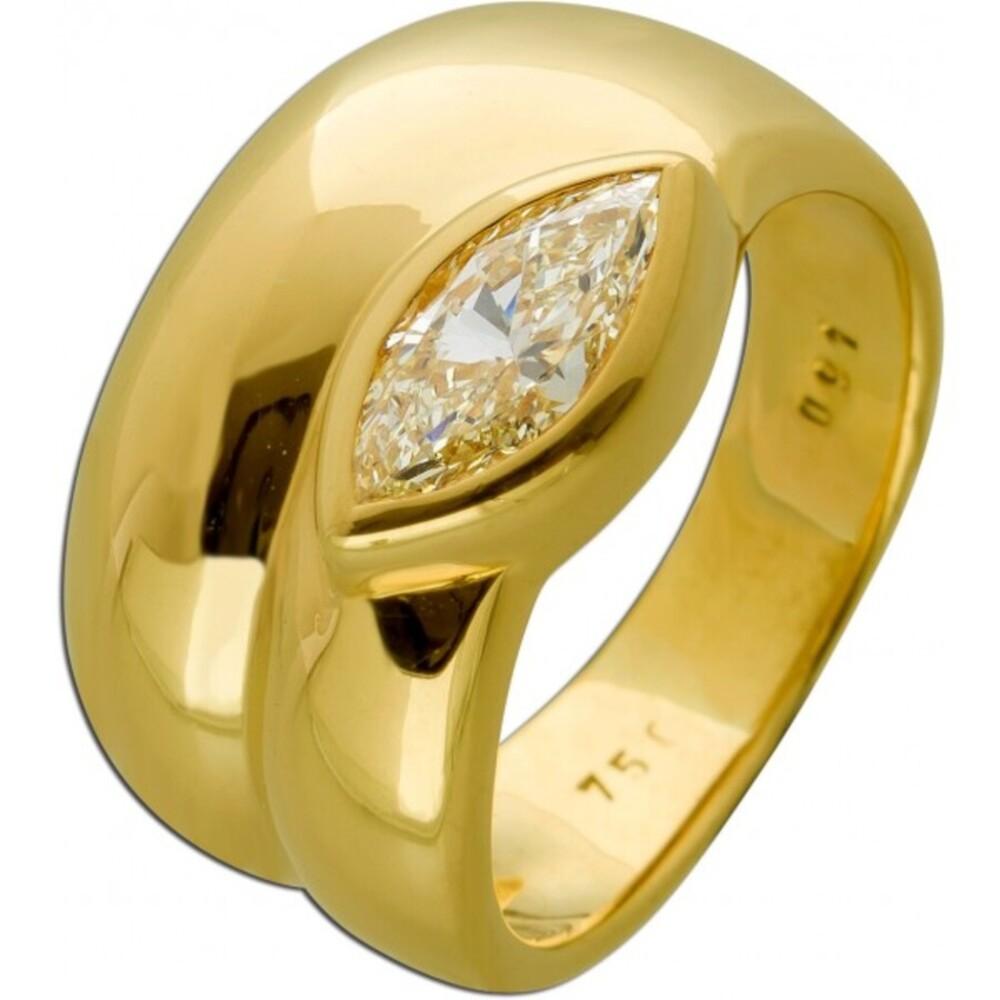 Diamant Ring Gelbgold 750 18Karat mit Diamant Yellow Intense Rarität 17,3mm