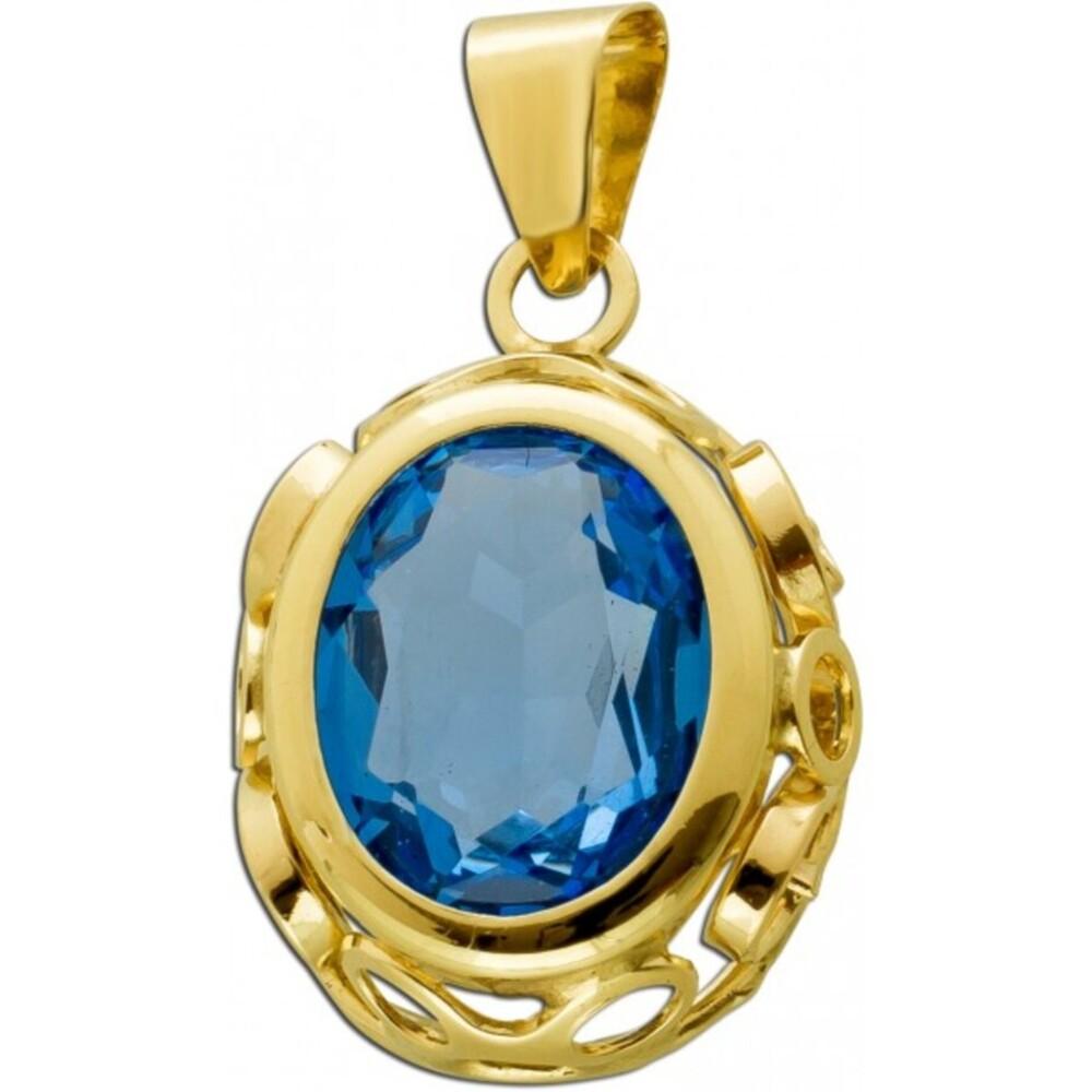 Antiker Anhänger 1920 Gelbgold 333 8 Karat  Azur blauer Spinell Edelstein 25x13,8