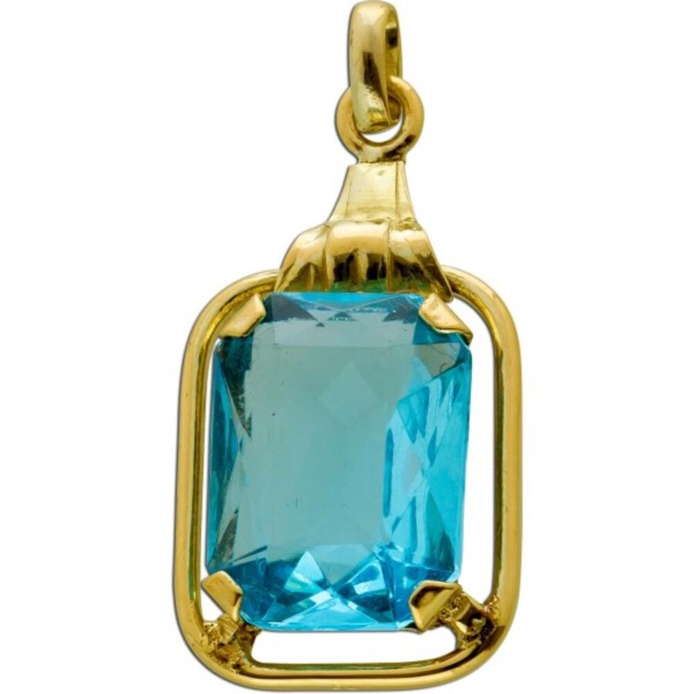 Antiker Anhänger 1900 Gelbgold 333 Blautopas Edelstein Synthese Smaragdschliff Top Zustand