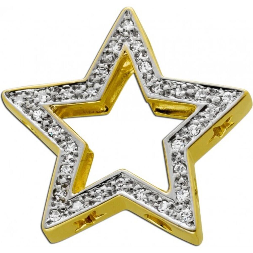 Diamant Anhänger Gelbgold 585 14 Karat 30 Diamanten 8/8 0,15ct TW/SI
