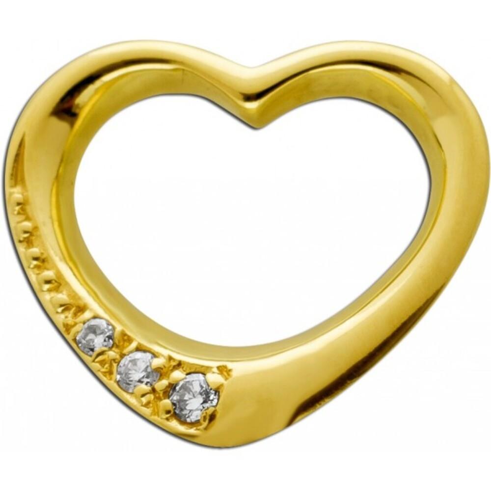 Diamant Herz  Anhänger Gelbgold 585 14 Karat 3 Diamanten Brillant Schliff Total 0,075ct  Swinging Hearth TW/SI