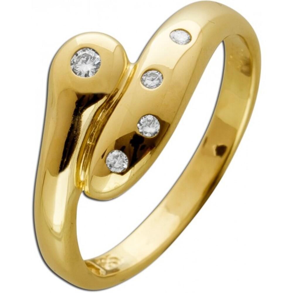 Designer Ring Gelbgold 585 14 Karat 585 5 Diamanten im Brillantschliff 0,065ct TW/VSI Schlangen Optik 16mm