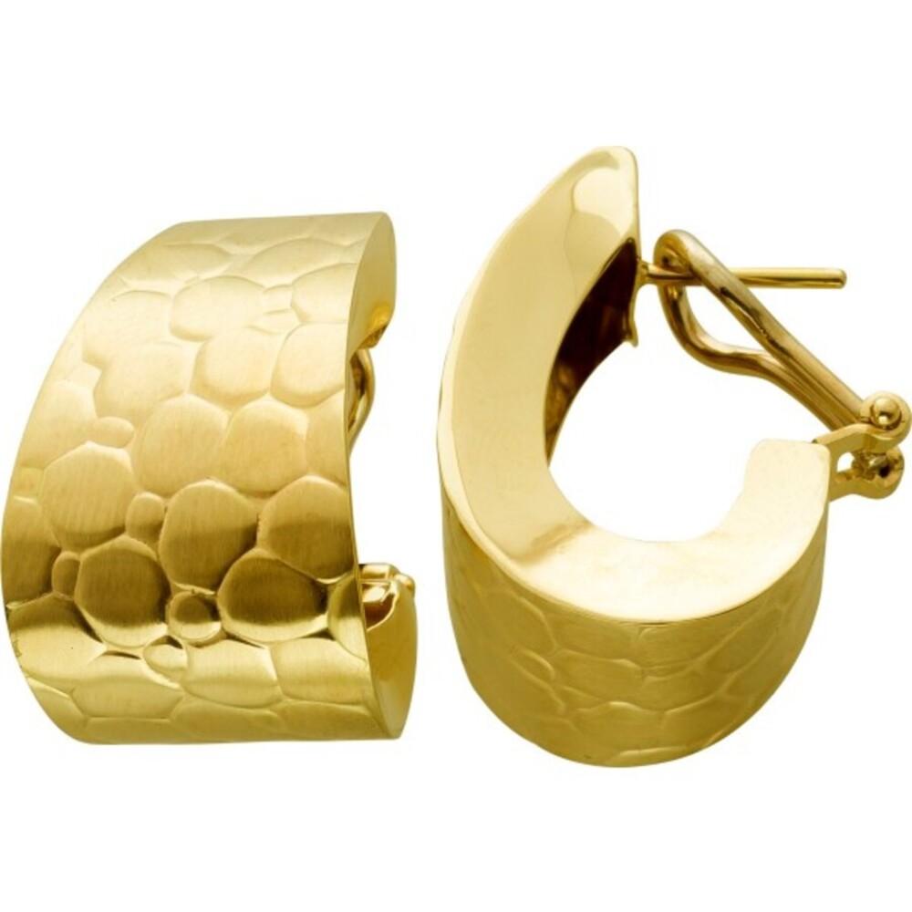 Antiker Designer Ohrstecker Clip Verschluss mit Scharnier um 1980 Gelbgold Weißgold 585 14 Karat