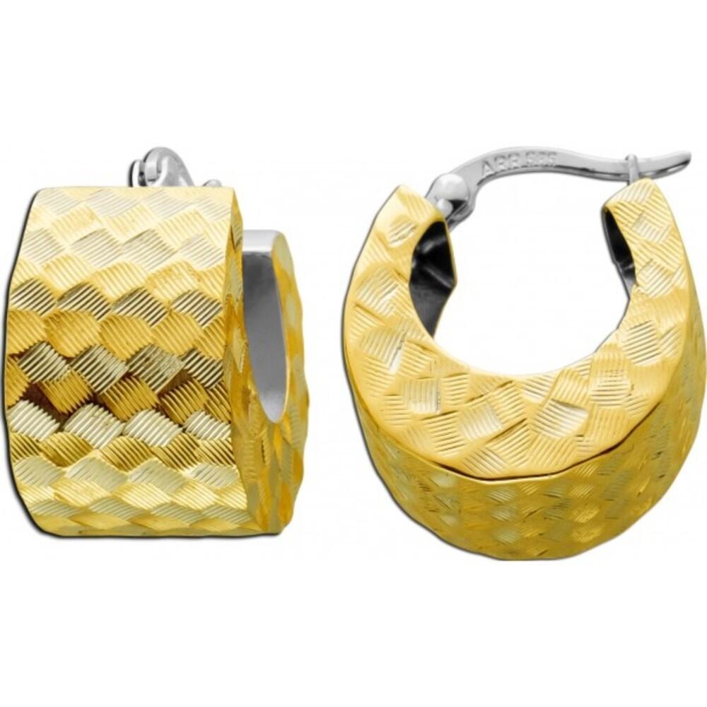 Antike Designer Ohrringe 1980 Gelb Weißgold 585 14 Karat Brillant funkelnd Klapp Verschluss Scharnier