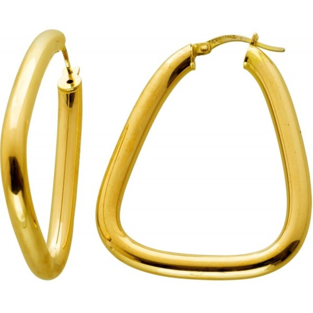 Designer Ohrhänger Gelbgold 14 Karat 585 Klappschanier Italienisches Design Triangel