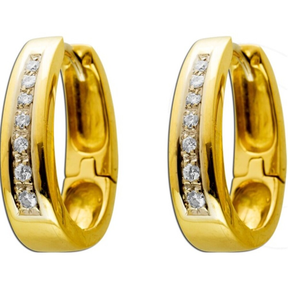 Antike Diamant Ohrringe Creolen Gelbgold 750 18 Karat 14 Diamanten Brilliantschliff 0,30ct TW/VVSI Vintage 1990