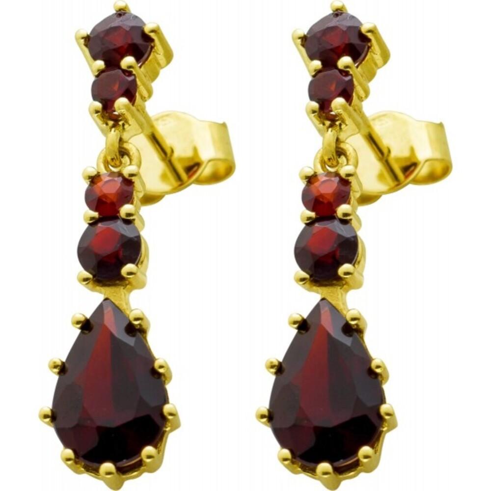 Antiker Edelstein Ohrringe Gelbgold 8 Karat 333 10 echte rote böhmische Granat Edelsteine Vintage um 1920 geschmiedet