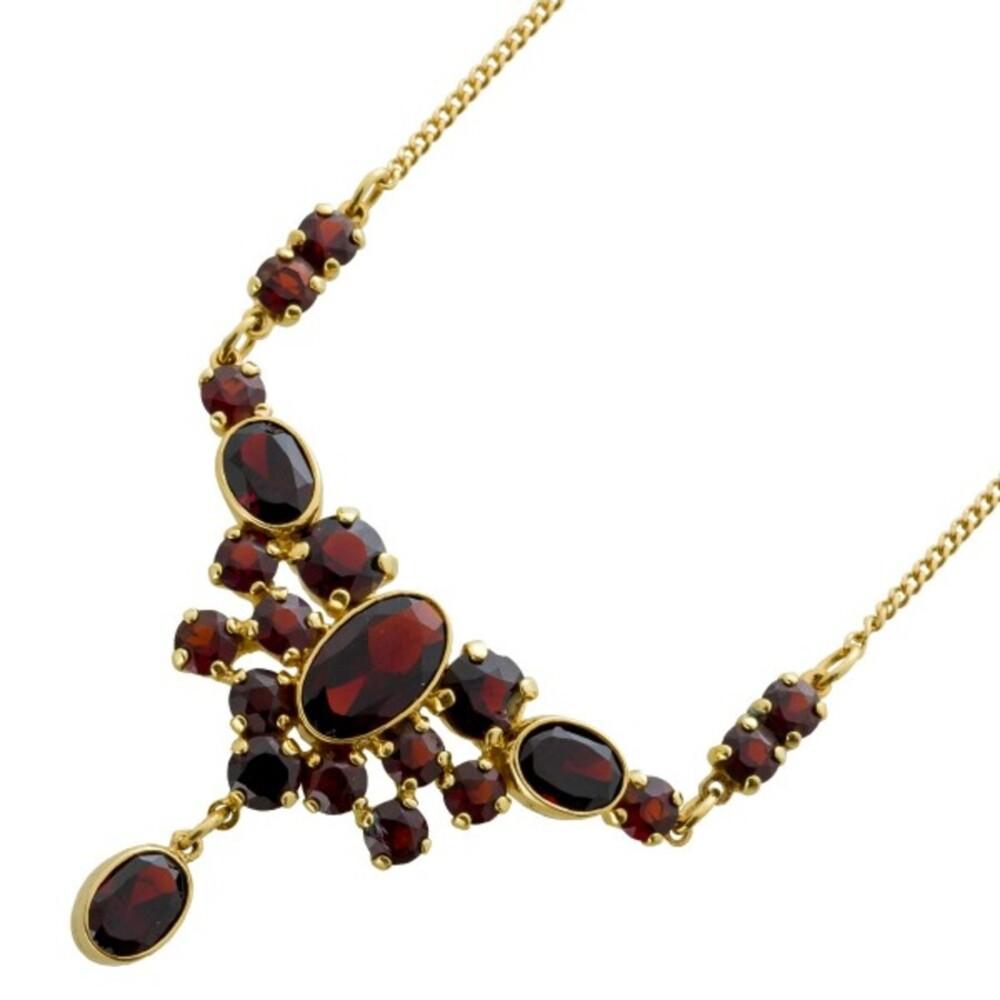 Antikes Granatcollier um 1950 Gelbgold 333 roter Granat 8 Karat