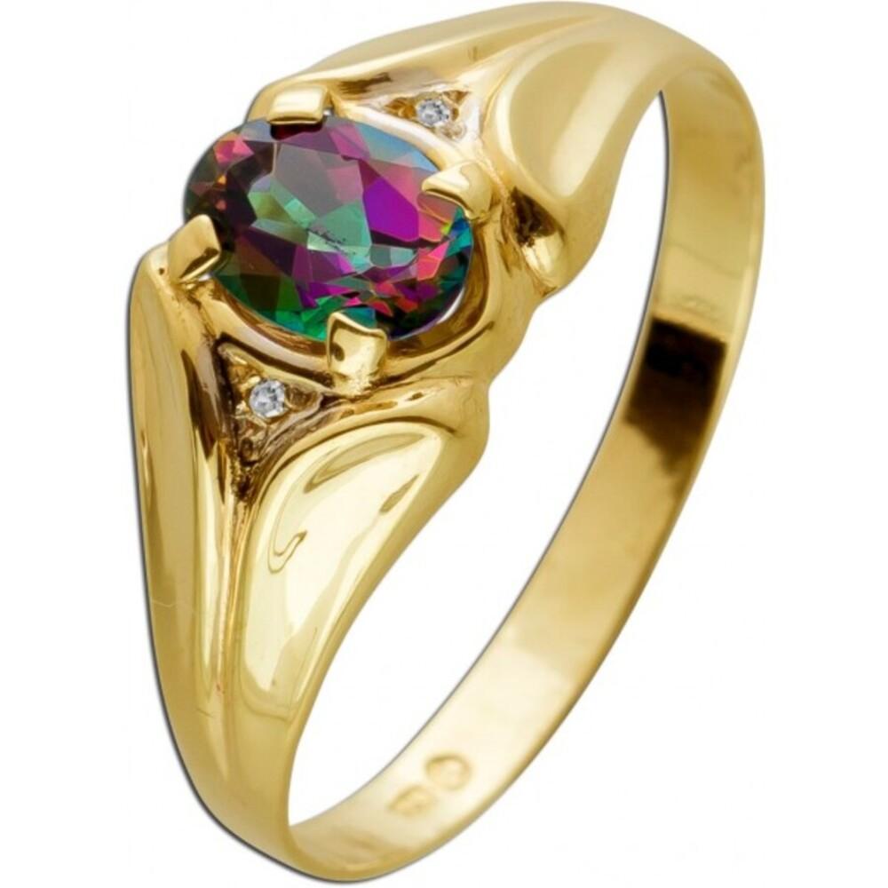 Edelsteinring Gelbgold 333 8 Karat Mystic Topas Oval Regenbogenfarben 2 Diamanten