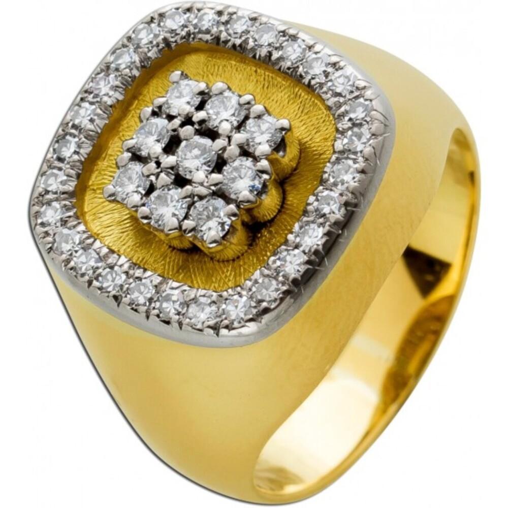 Exklusiver Designer Brillantring Diamantring Weißgold Gelbgold 18Karat  Brillanten 0,80ct TW/Lupenrein vom Hofjuwelier Schilling Unikat mit Görg Zertifikat