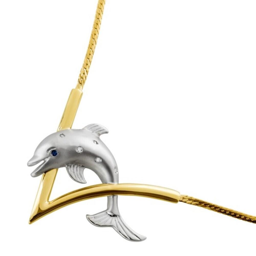 Designer Delphincollier Gelbgold Weißgold 14Karat 5 Diamanten 1 blauer Saphir Goldschmiedemeisterleistung Unikat Länge 42cm 13,2g Exclusive Einzelanfertigung Krafttier Delphin