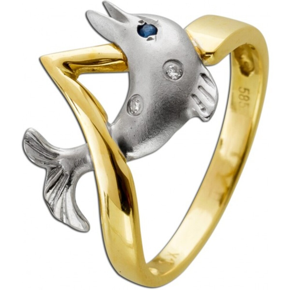 Designer Delphinring 2 Brillanten blauer Saphir Edelstein Gelbgold Weißgold 585 Goldschmiedemeisterleistung Unikat Delphin Krafttier Symbolschmuck Größe 16,3mm änderbar
