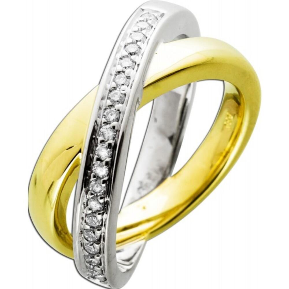 Brillantring exklusiver Überwurfring massiv 2 Ringe 1x Gelbold 1x Weißgold 14Karat 19 Brillanten 0,33-0,35ct. TW/VSI Gr.18mm Feinste Goldschmiede Einzelanfertigung Görg Zertifikat