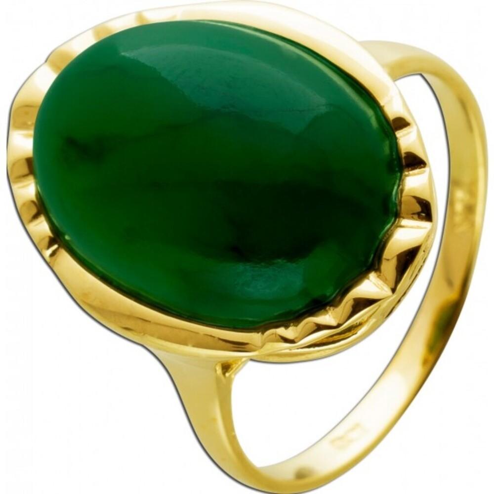Antiker Jade Edelsteinring 1930 Gelbgold 9Karat grün leuchtender Jade Edelstein Cabochon Schliff Top Zustand Gr.19mm änderbar