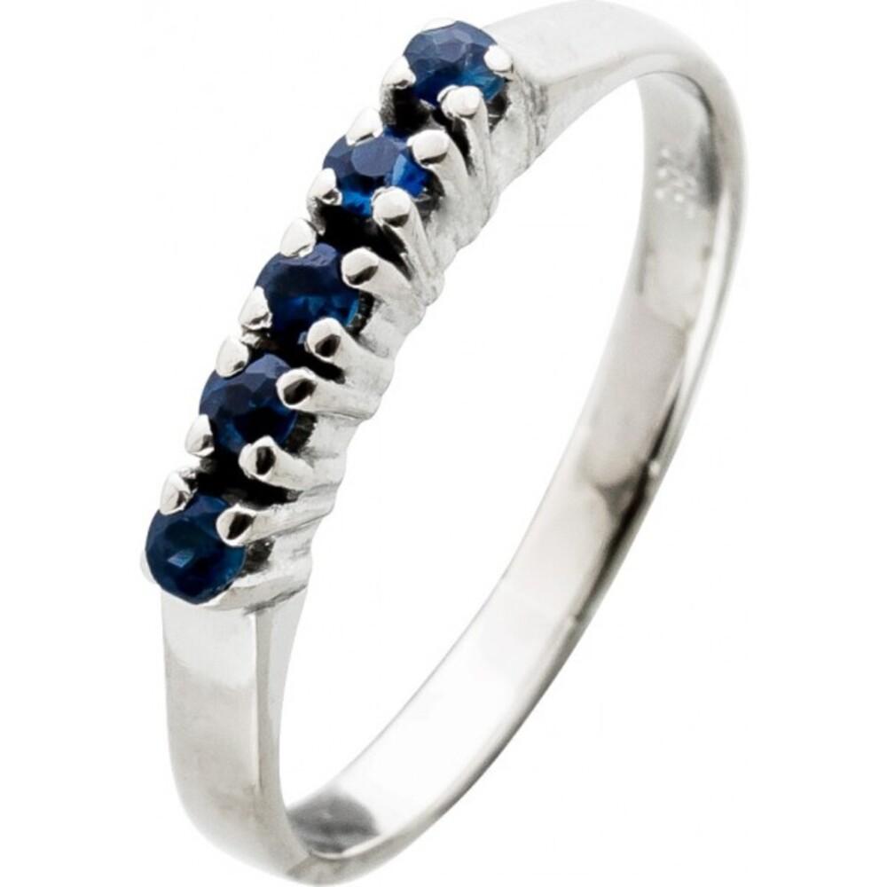 Antiker Saphirring 1960 Weissgold 14Karat Halbmemoire Ring 5 blaue Saphir Edelsteine Top Zustand Größe 16,2mm änderbar