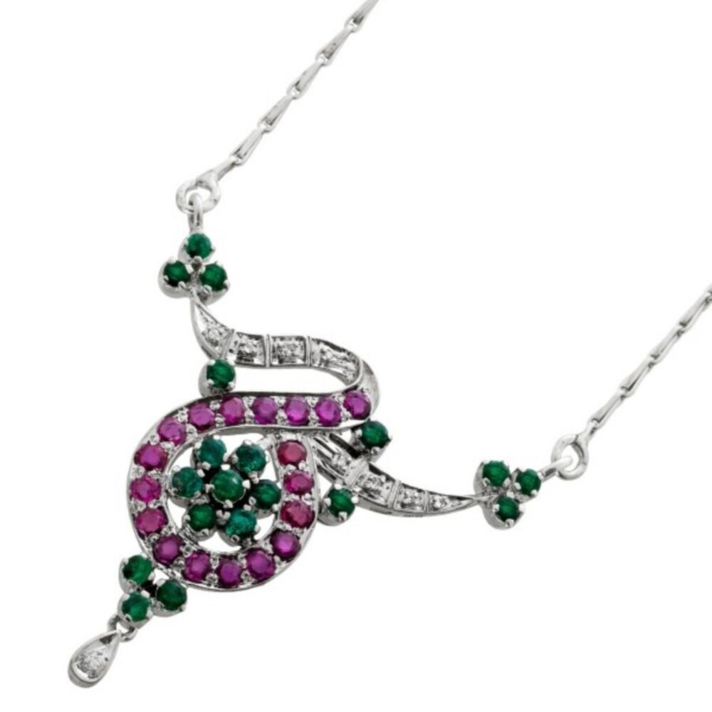 Antikes Collier Weissgold 9 Karat 375 18 Rubin Edelsteine 16 Smaragde 9 Diamanten 8/8 W/I1 1950 geschmiedet 48cm