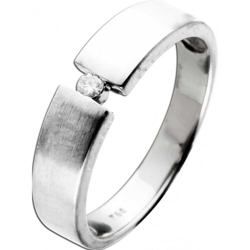 Ring Weißgold 18 Karat 750 1 Diamant Brillant Schliff Spannring Fassung 0,05ct TW/I1 18mm