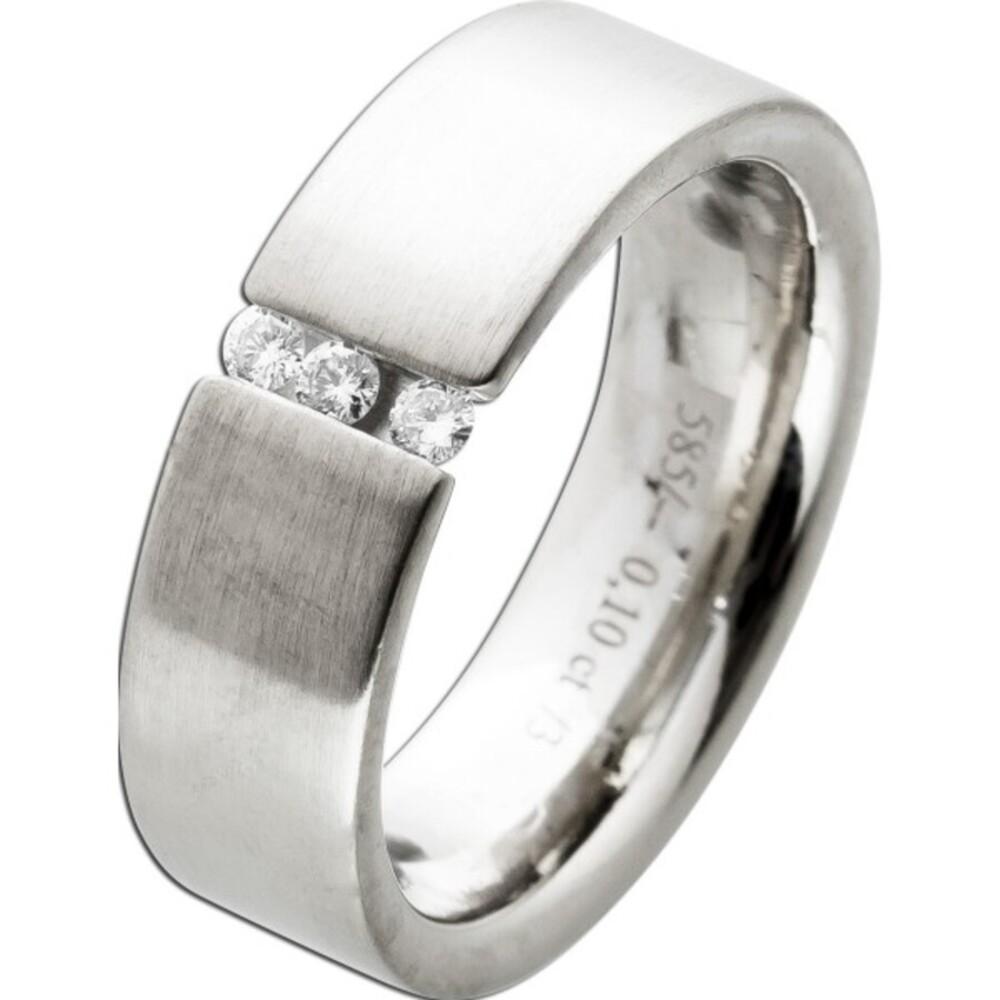 Mattierter Spannring Weißgold 14 Karat 585 3 Diamanten Brillantschliff 0,10ct TW/VVSI Diamantring 18mm