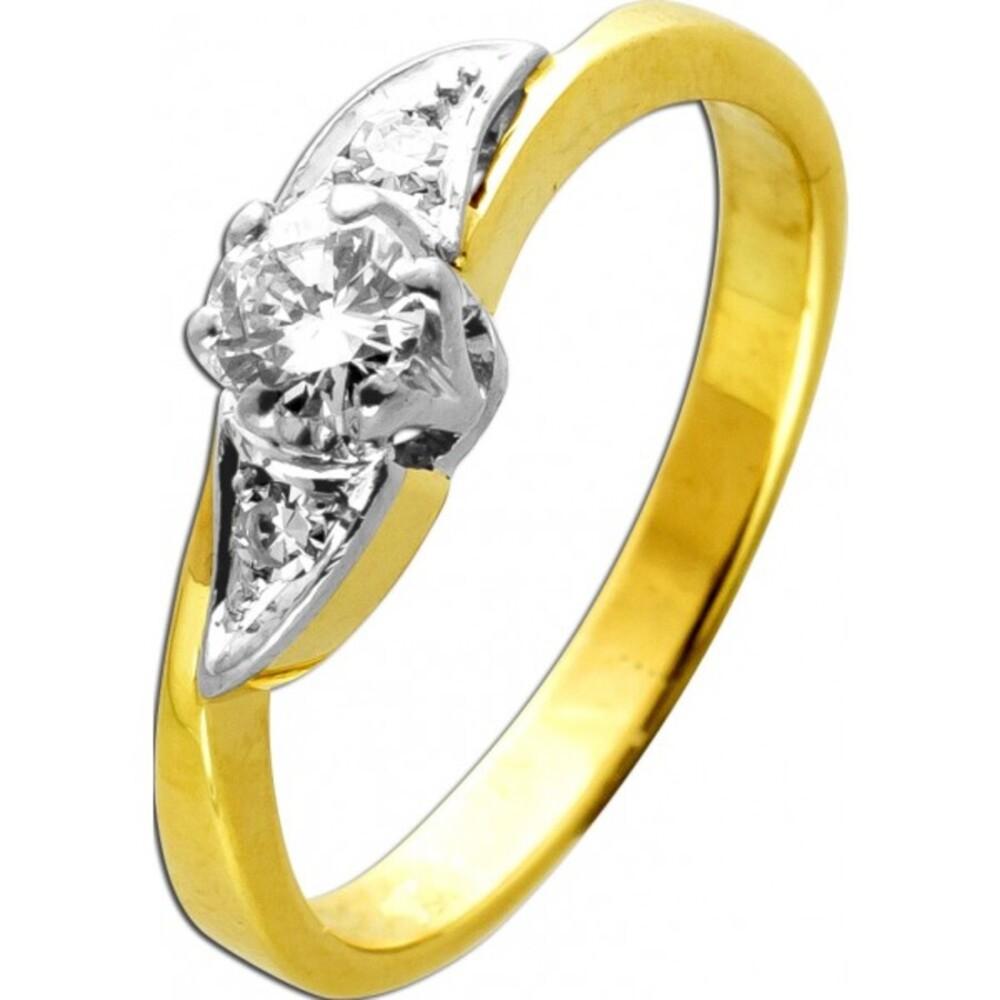 Designer Ring Gelb Weßgold 18 Karat 750 1 Diamant Brillantschliff 0,25ct TW/Lupenrein 2 Diamanten 8/8 0,04ct 17mm Diamantring mit Görg Zertifikat