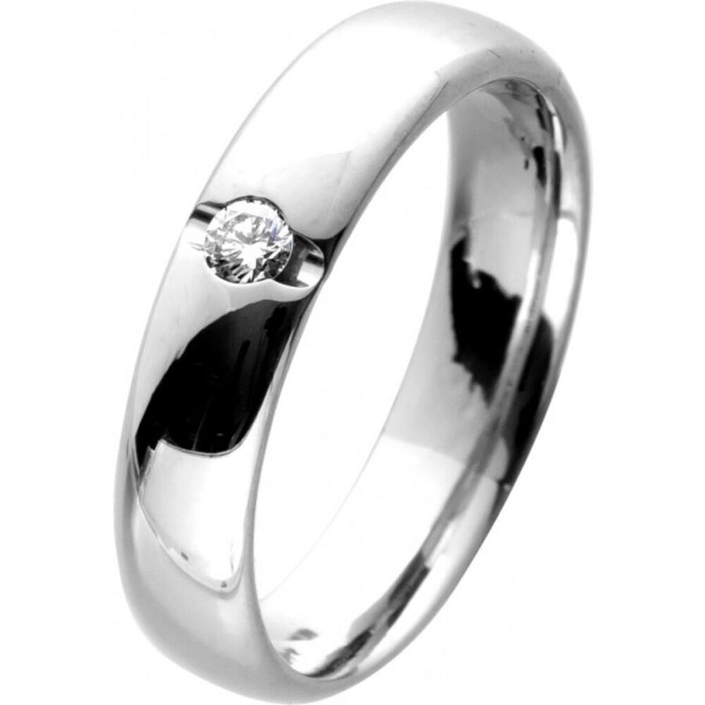 Solitär Diamant Ring Gelbgold Weißgold 585 14 Karat 1 Diamant Brillantschliff 0,06ct TW/SI Verlobungsring Ehering 17mm