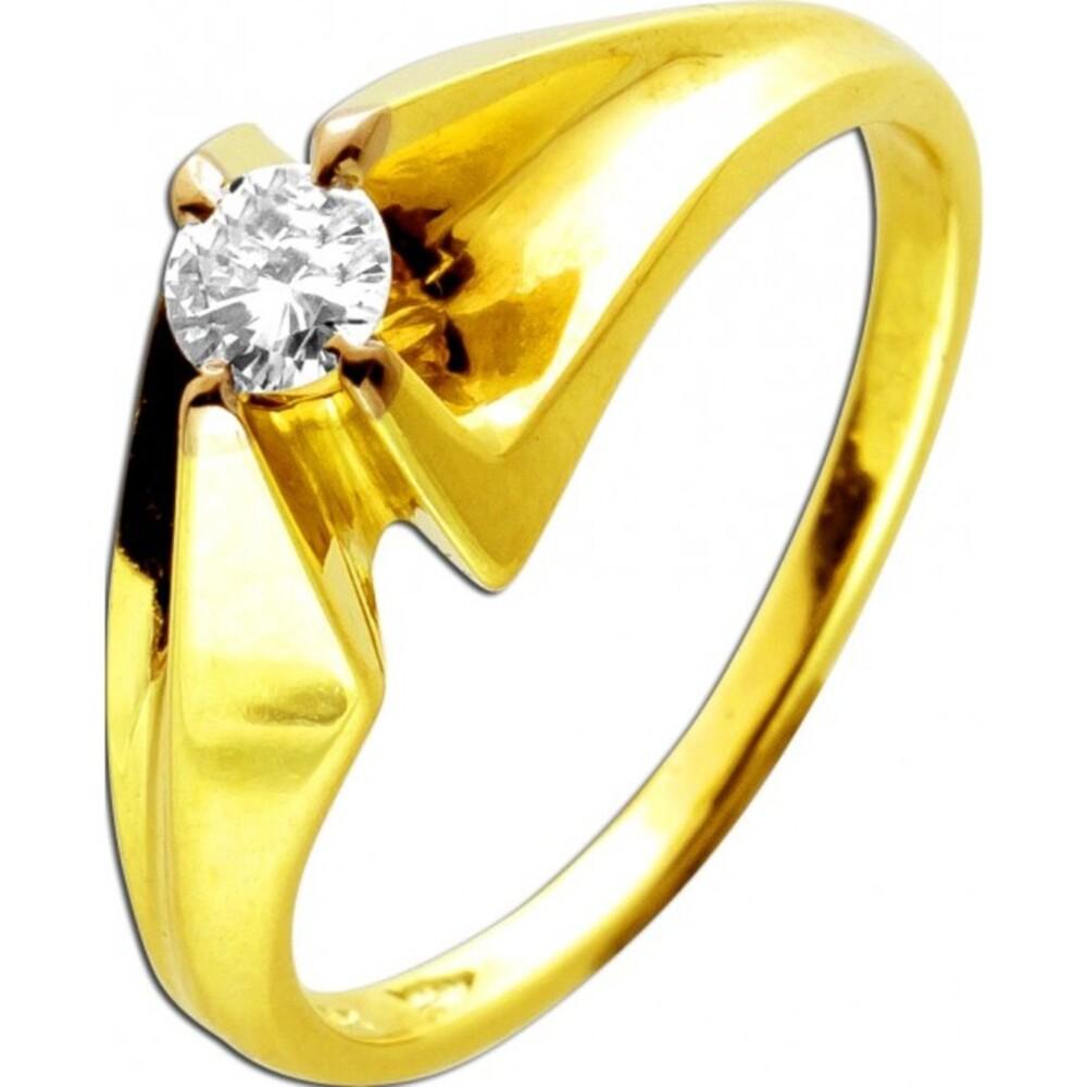 Solitär Diamant Ring Gelbgold 14 Karat 585 1 Brillant 0,20ct TW/VVSI Designer Ringschiene Diamantring 17mm