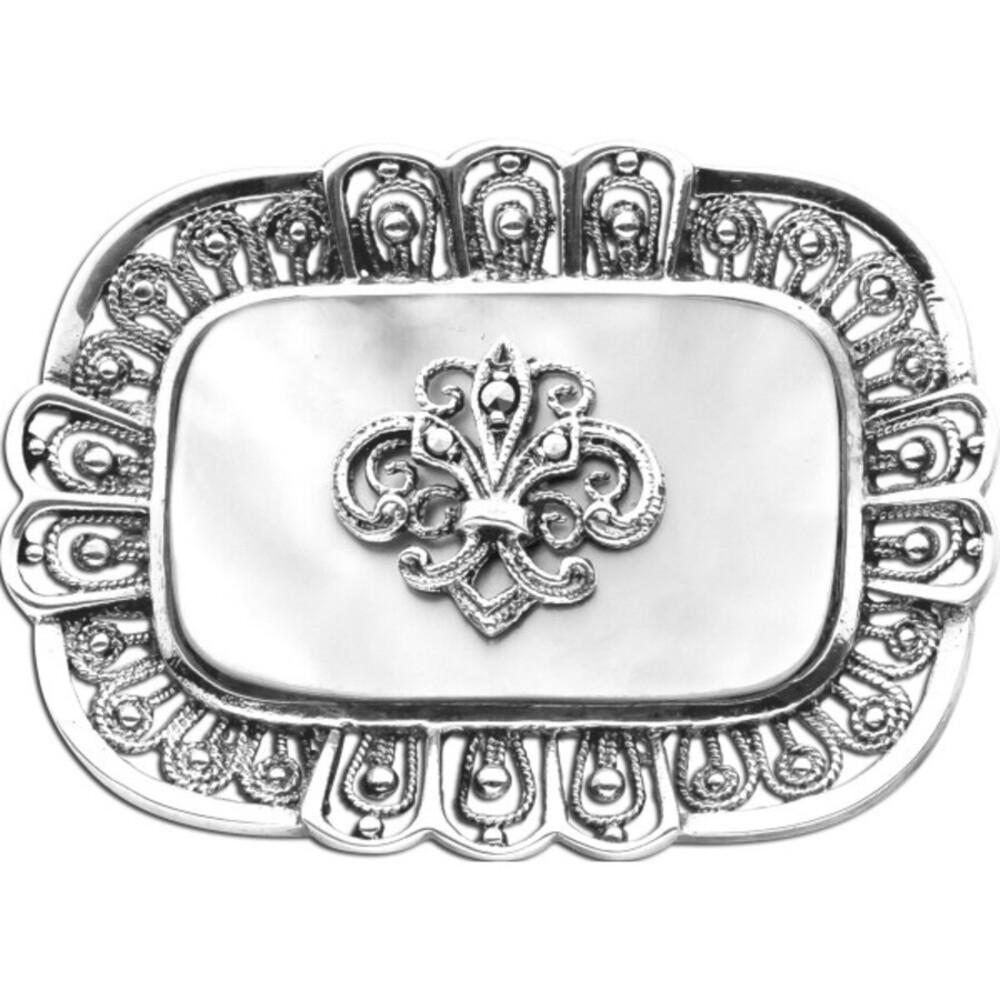 Antike Brosche Anstecknadel um 1900 Silber 835 1 Markasit Edelstein Fleur de Lis königliches Wappen