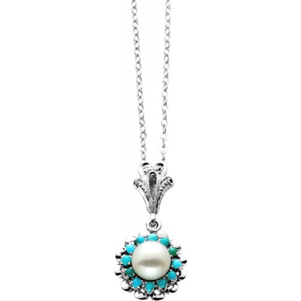 Collier Weissgold 750 Antik 1950 Akoyaperle Türkis Cabochons feinste Edelstein Perlen Qualität 4,4 Gramm 45cm