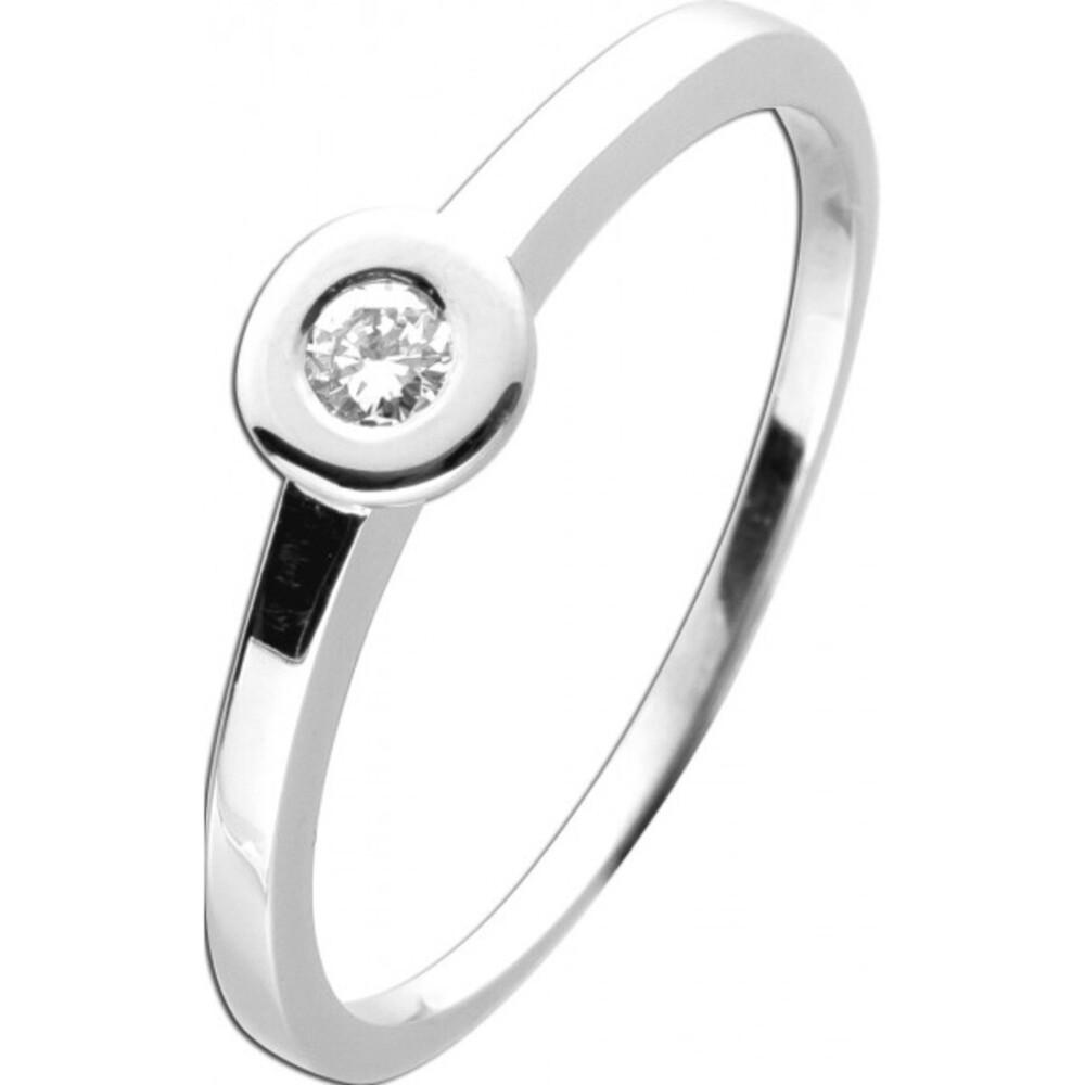 Ring Weißgold 585 14 Karat mit 1Diamant im Brillantschliff 0,10ct TW / Lupenrein Trauring Verlobungsring 20mm